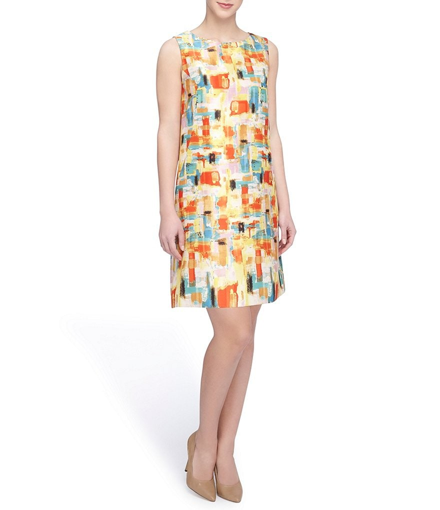 Tahari ASL Petite Shantung Printed Shift Dress
