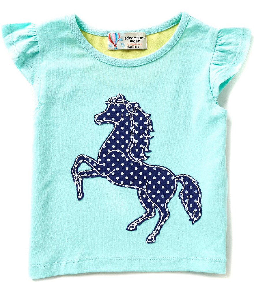 Adventure Wear by Copper Key Little Girls 2T-4T Horse Applique Top