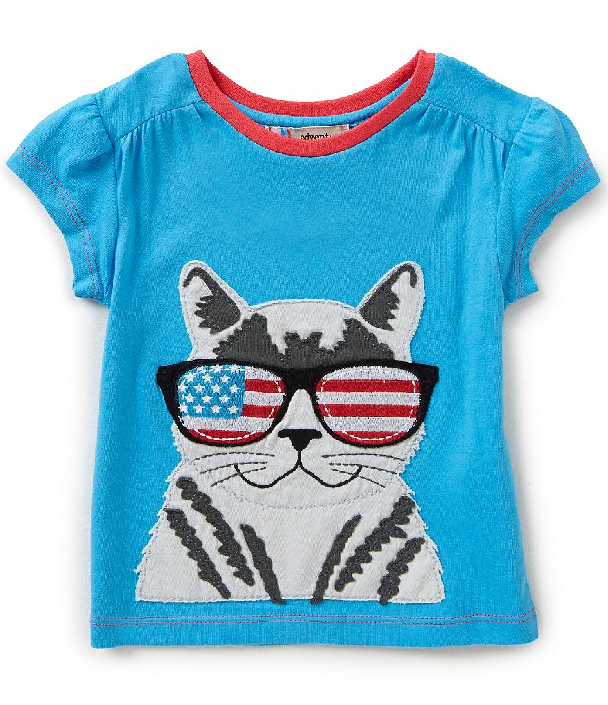 Adventure Wear by Copper Key Little Girls 2T-4T Americana Cat Applique Top