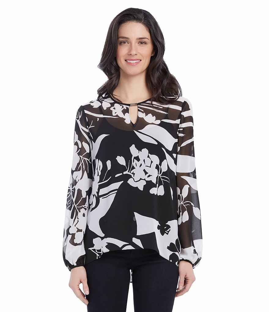 Ellen Tracy Printed Georgette Full-Sleeve Keyhole Bar-Neck Blouse