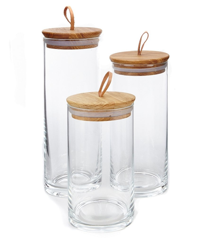 Tru Chef Clear Canister W/Oakwood Lid