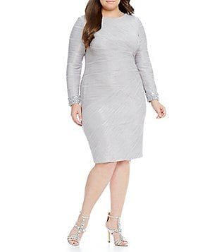 Eliza J Plus Beaded-Cuff Textured Long Sleeve Sheath Dress