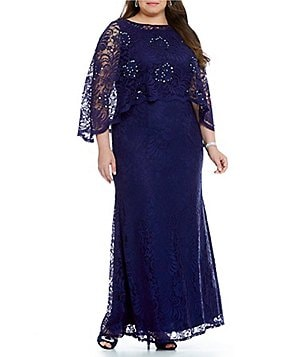 Ignite Evenings Plus Lace Capelet Dress