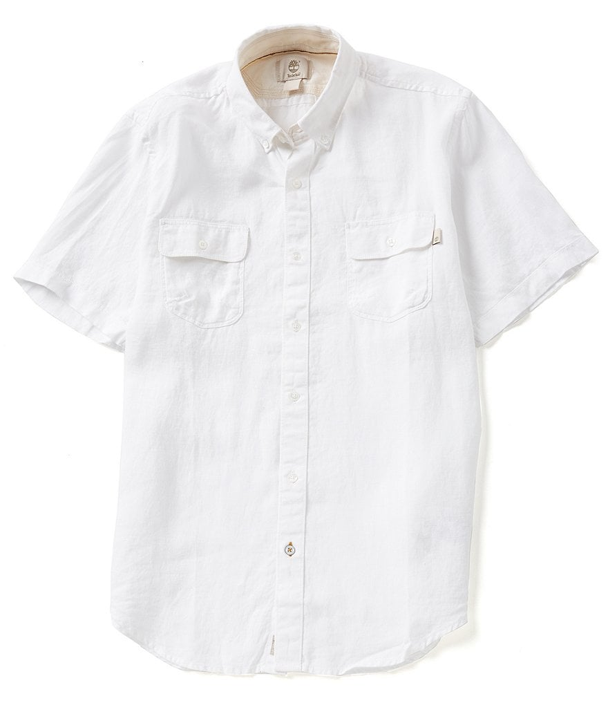 Timberland Short-Sleeve Solid Slim-Fit Warner River Linen Shirt
