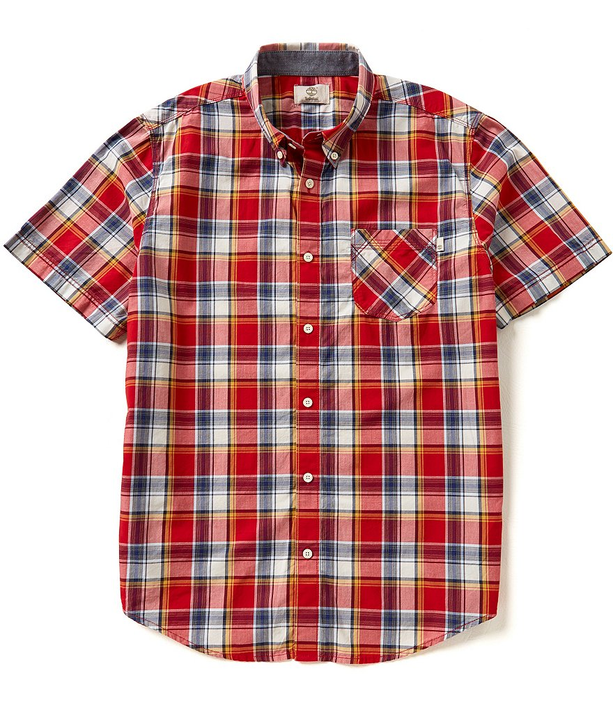 Timberland Short-Sleeve Allendale River Plaid Woven Shirt
