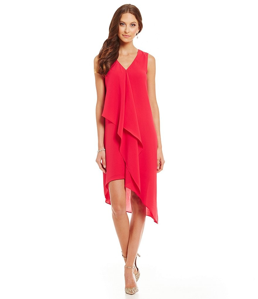 Adrianna Papell Asymmetrical Ruffle Shift Dress