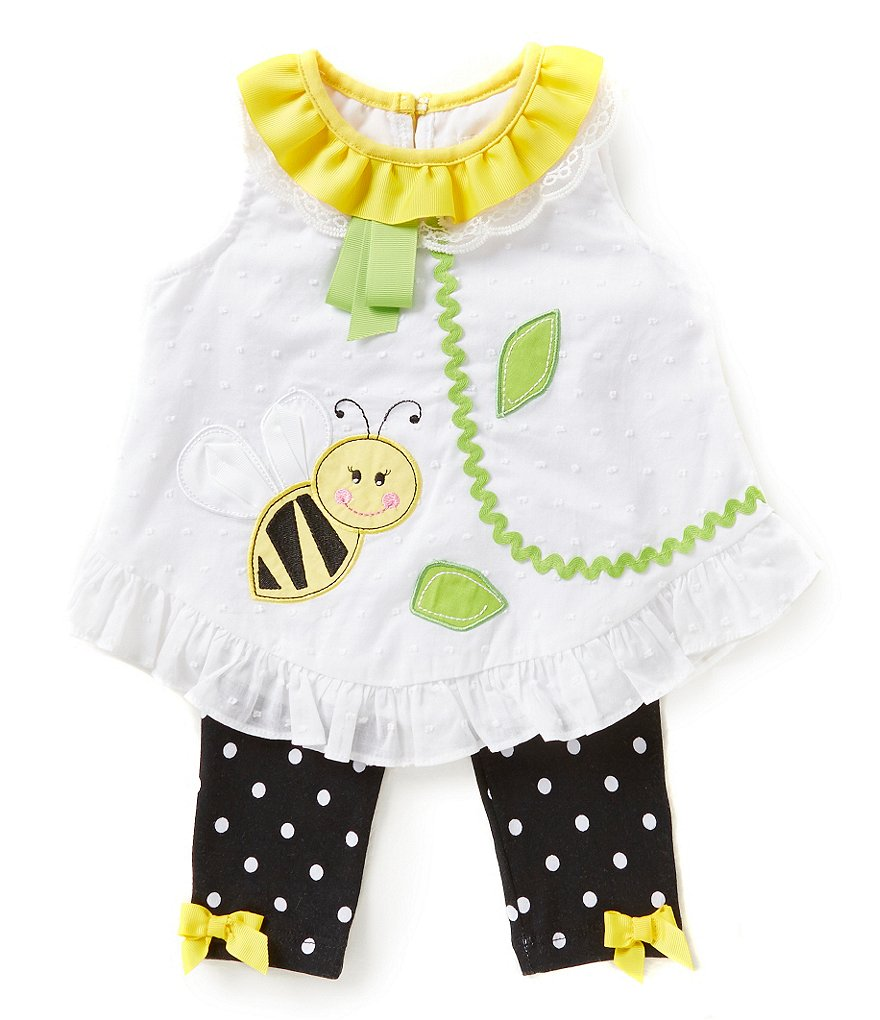Rare Editions Baby Girls 3-24 Months Clip-Dot Bumblebee-Appliqued Top & Dotted Leggings Set