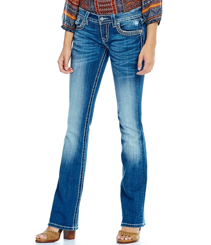 Miss Me Embellished Angel Wing Flap Pocket Bootcut Jeans
