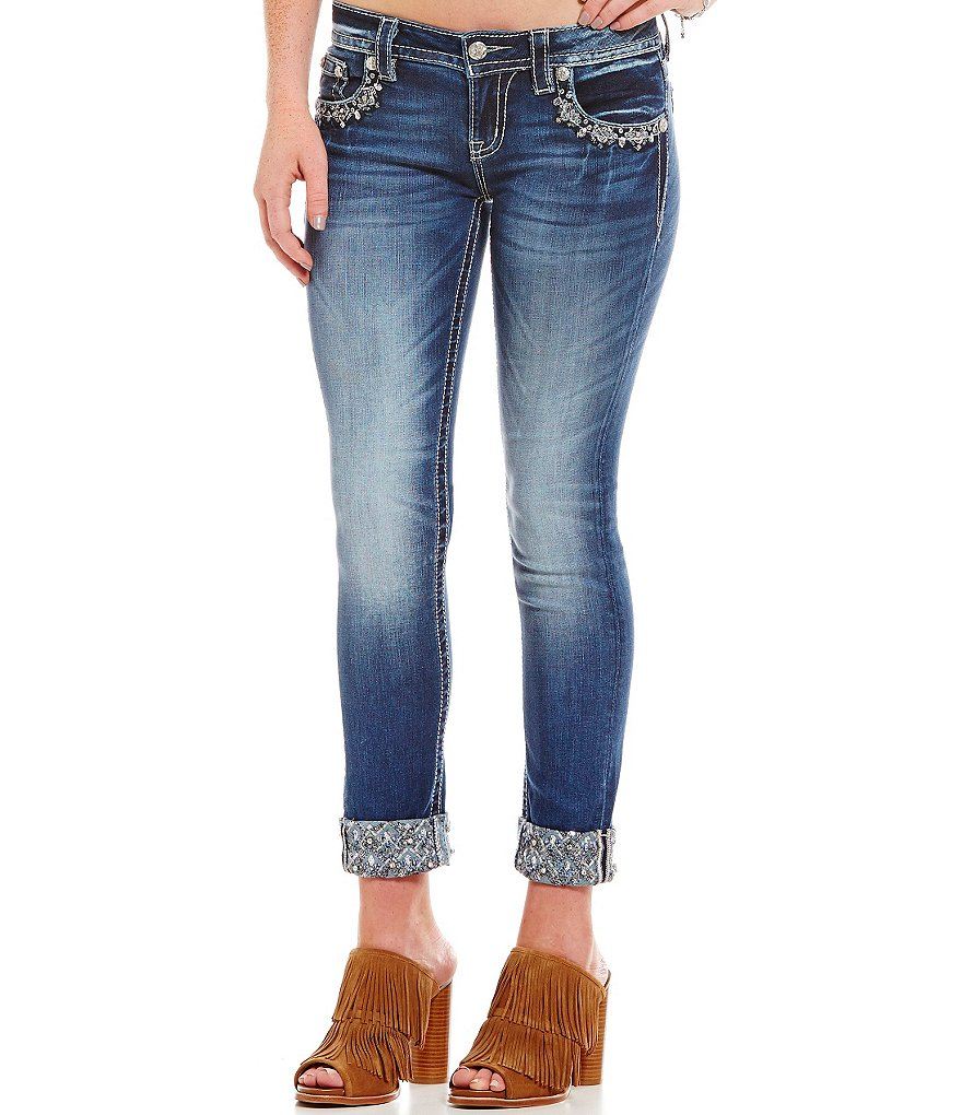 Miss Me Embellished Cuff Ankle Skinny Jeans