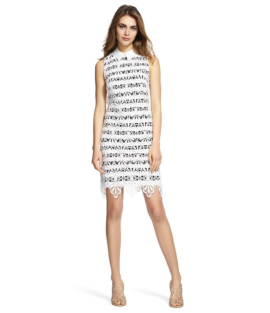 Adrianna Papell Striped Lace Sheath Dress