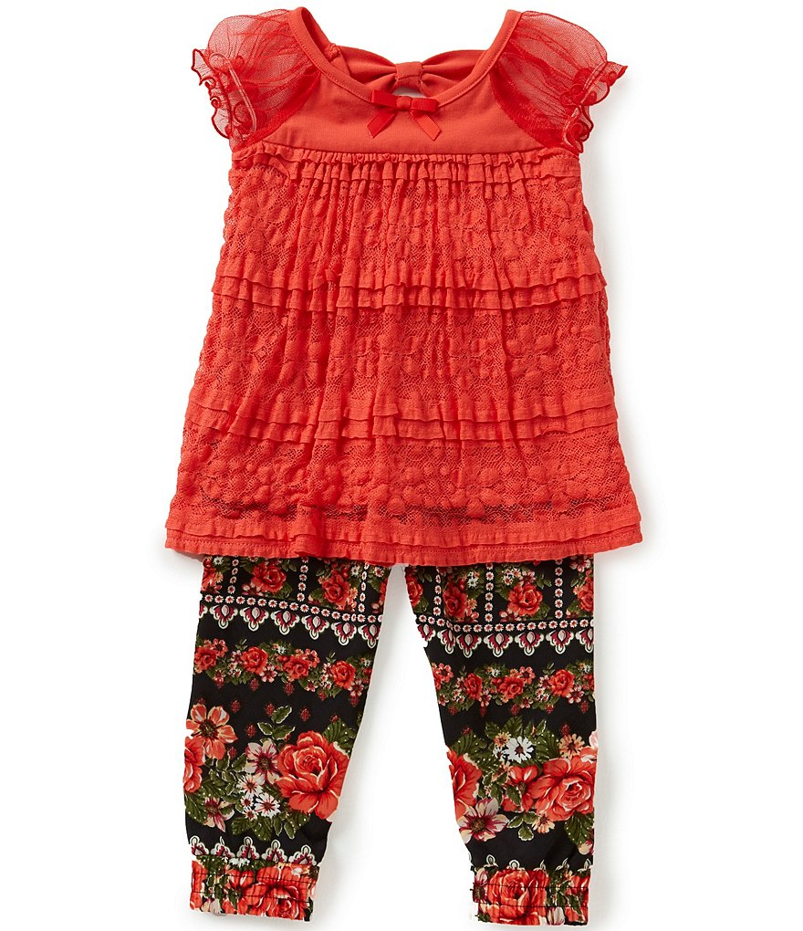 Bonnie Baby Baby Girls 12-24 Months Lace Top & Floral-Printed Challis Pants