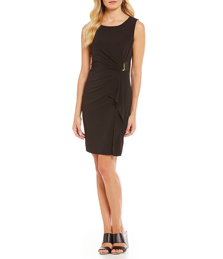 Calvin Klein Matte Jersey Side-Drape Sleeveless Sheath Dress