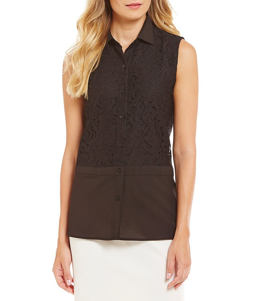 Calvin Klein Mixed Media Lace Sleeveless Blouse