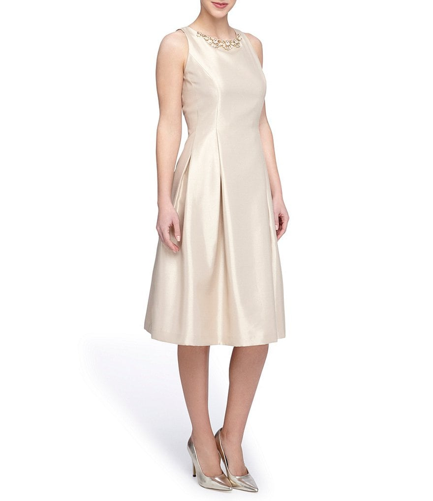 Tahari ASL Beaded Neckline Fit and Flare Dress