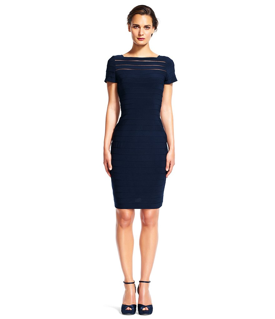 Adrianna Papell Matte Jersey Banded Short Sleeve Sheath Dress