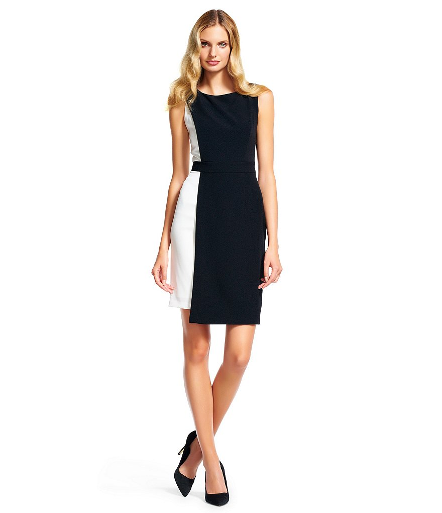 Adrianna Papell Stretch Crepe Color Block Sleeveless Sheath Dress