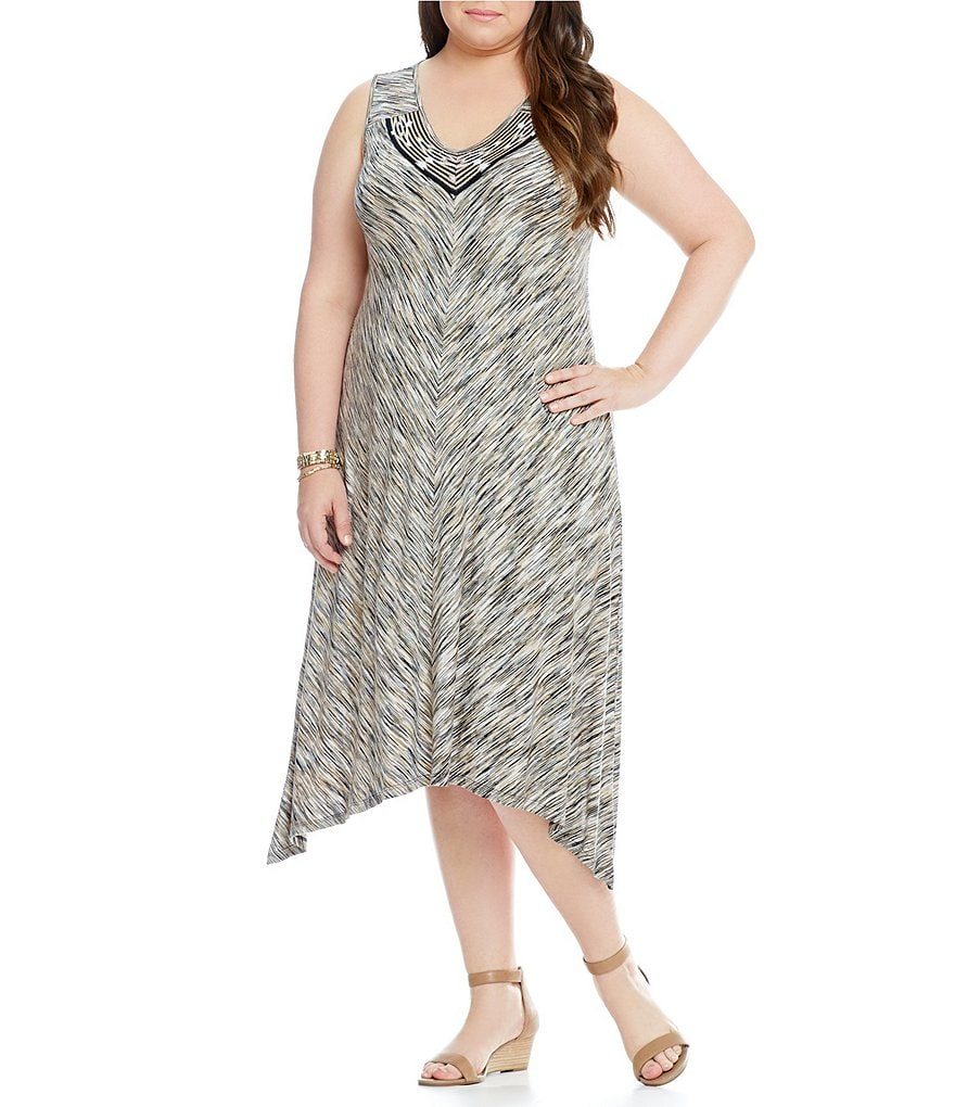 Westbound Plus Mitered V-Neck Dress