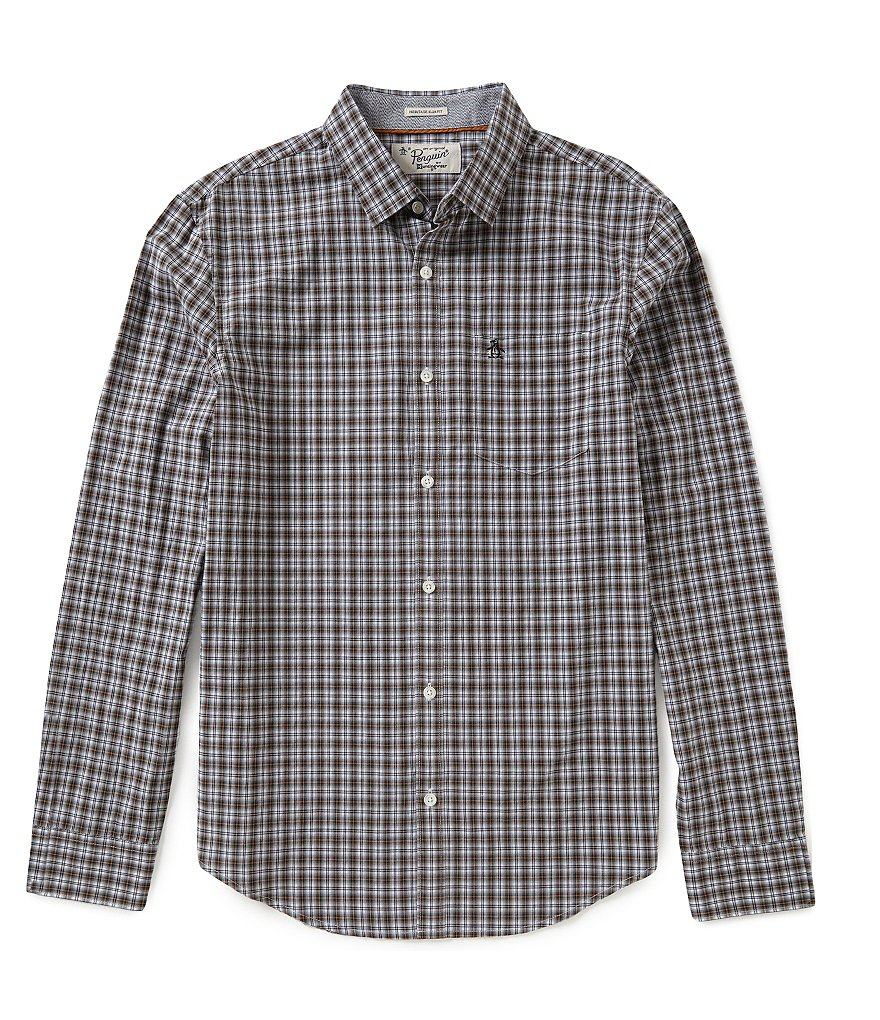 Original Penguin Long-Sleeve Plaid Woven Shirt