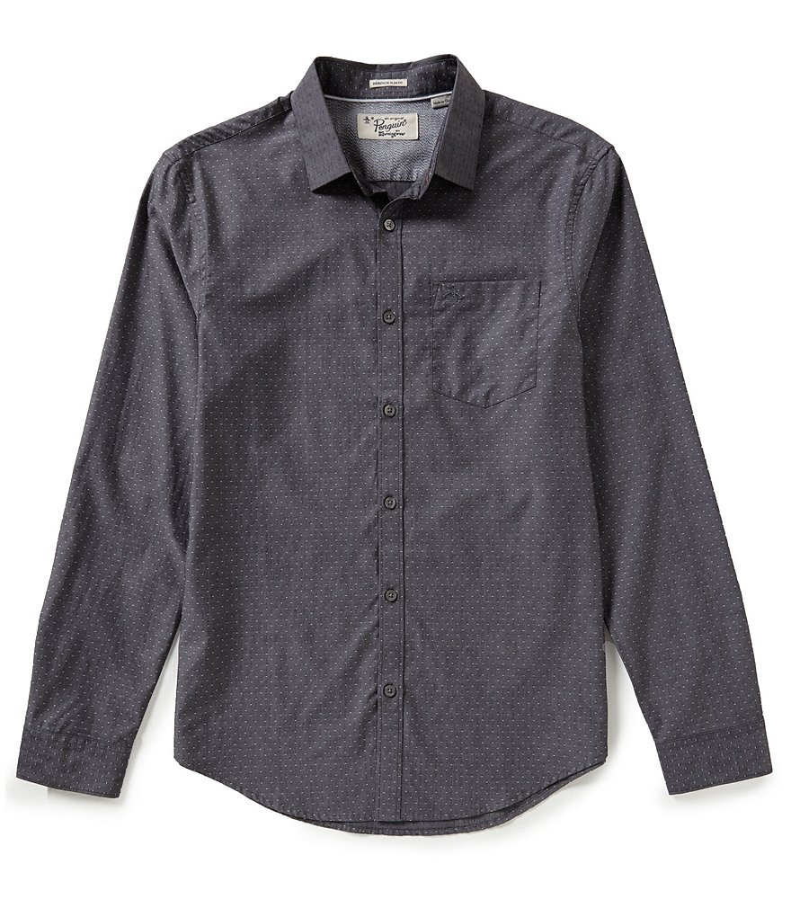 Original Penguin Long-Sleeve Dotted Chambray Dobby Woven Shirt