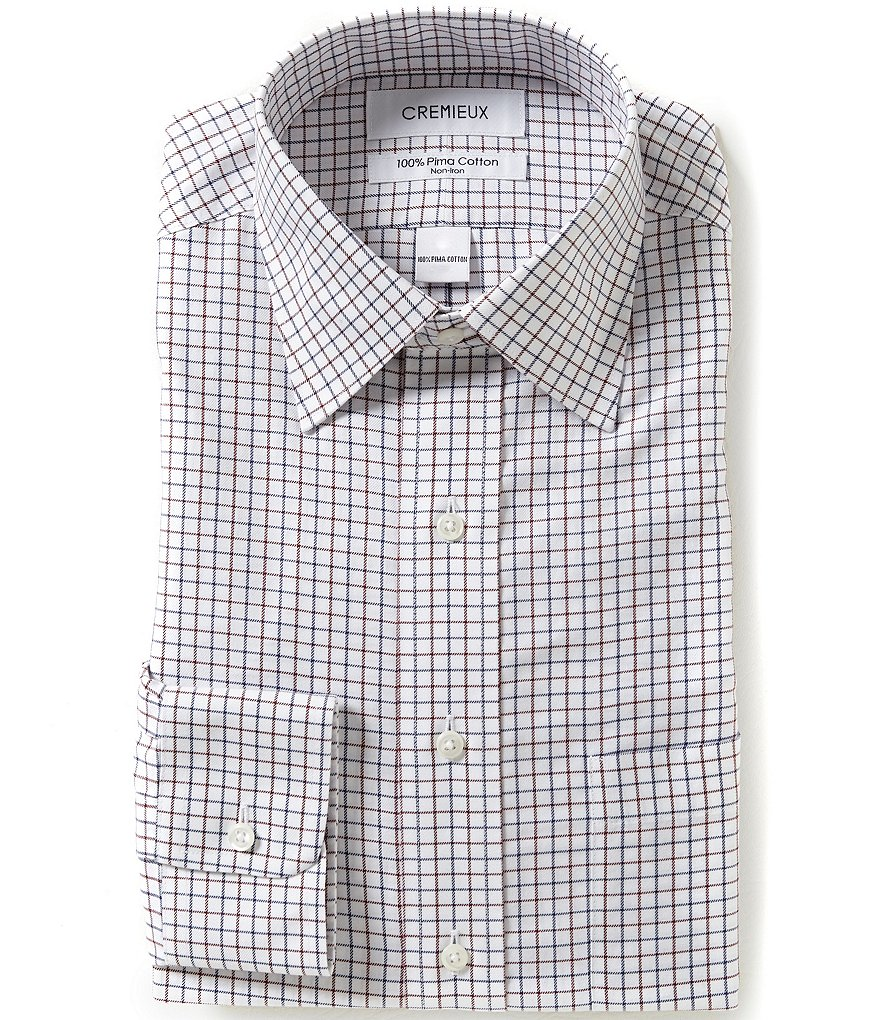 Cremieux Non-Iron Fitted Checked Grid-Pattern Spread-Collar Dress Shirt