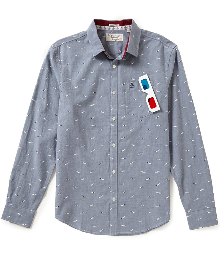 Original Penguin Repeating 3D Glasses Print Long-Sleeve Shirt