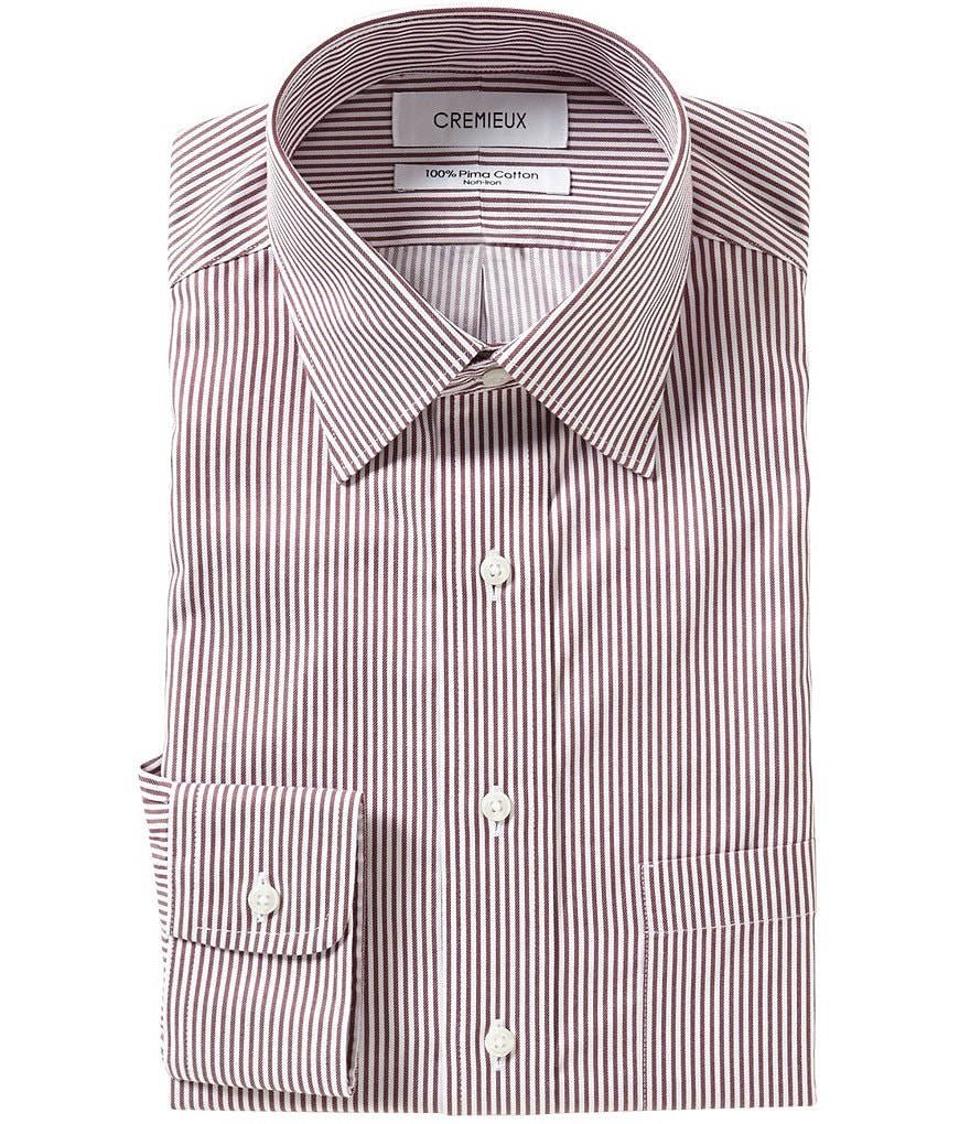 Cremieux Non-Iron Fitted Spread-Collar Striped Dress Shirt