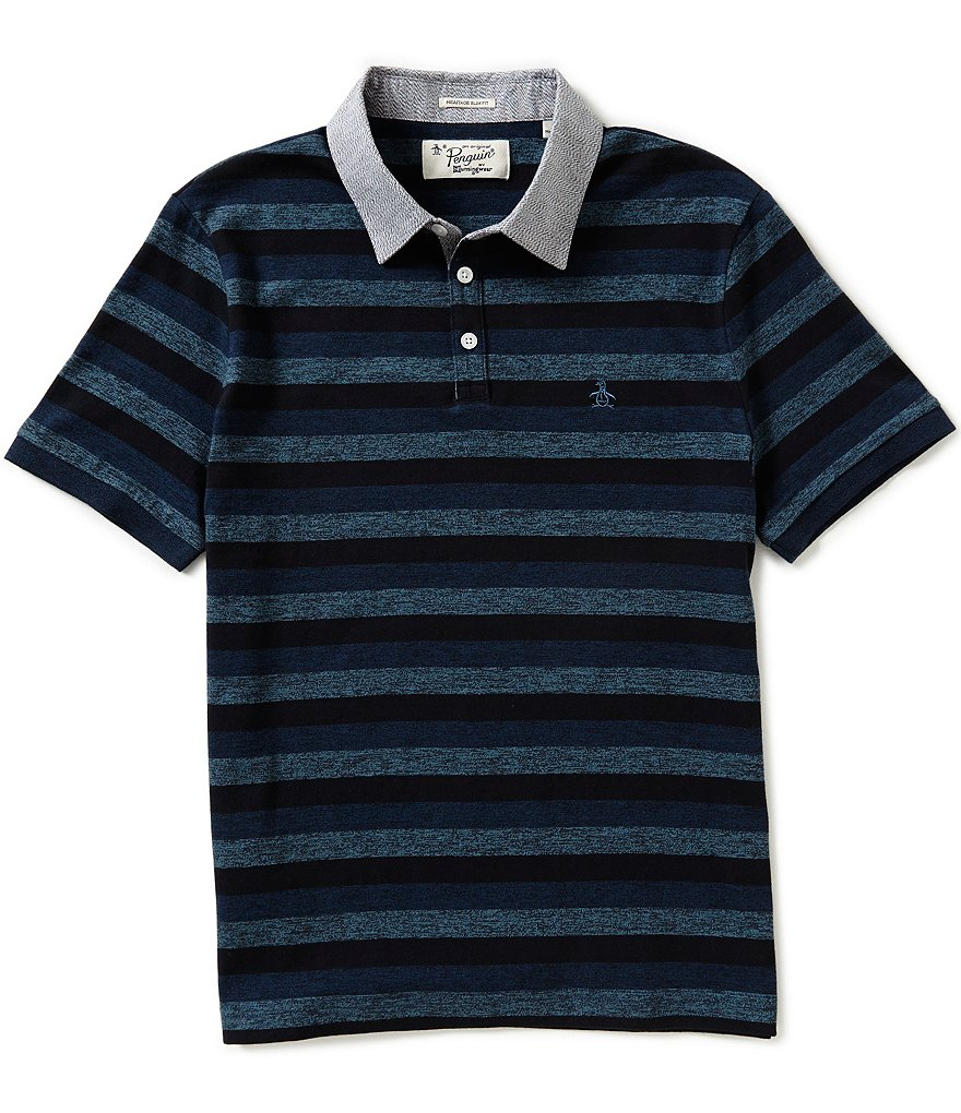 Original Penguin Short-Sleeve Jasper Horizontal-Striped Polo Shirt