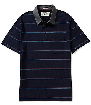 Original Penguin Short-Sleeve 3D Print Horizontal-Striped Polo Shirt