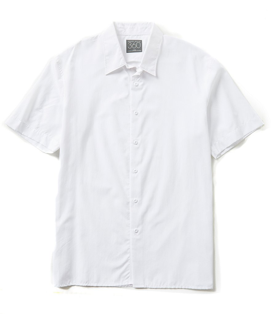 Perry Ellis Short-Sleeve End-On-End Woven Shirt