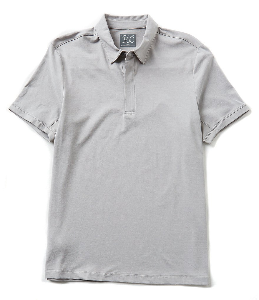 Perry Ellis Short-Sleeve Solid Zip Polo Shirt