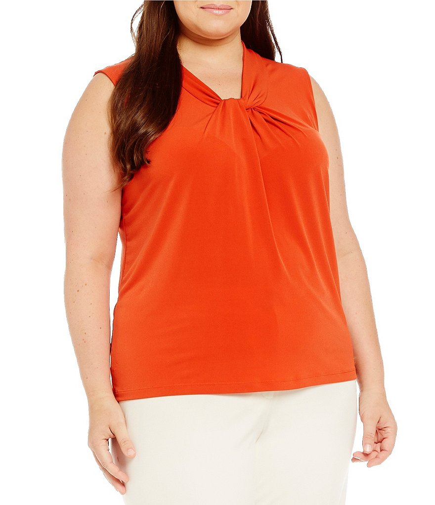 Calvin Klein Plus Knotted V-Neck Matte Jersey Shell