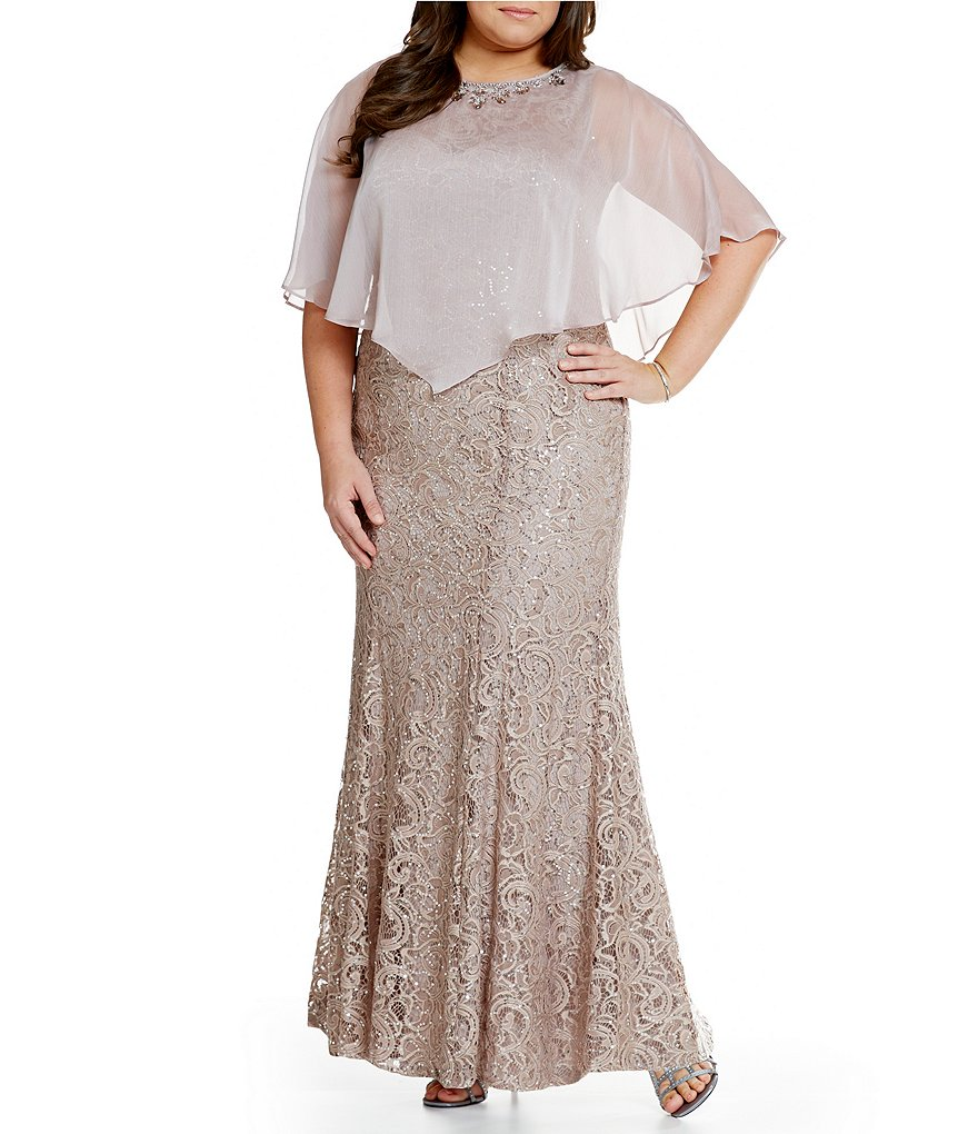Ignite Evenings Plus Sequin Lace Capelet Gown