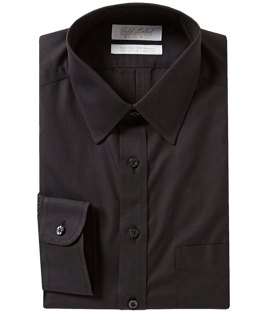 Gold Label Roundtree & Yorke Non-Iron Slim-Fit Point Collar Solid Long-Sleeve Dress Shirt