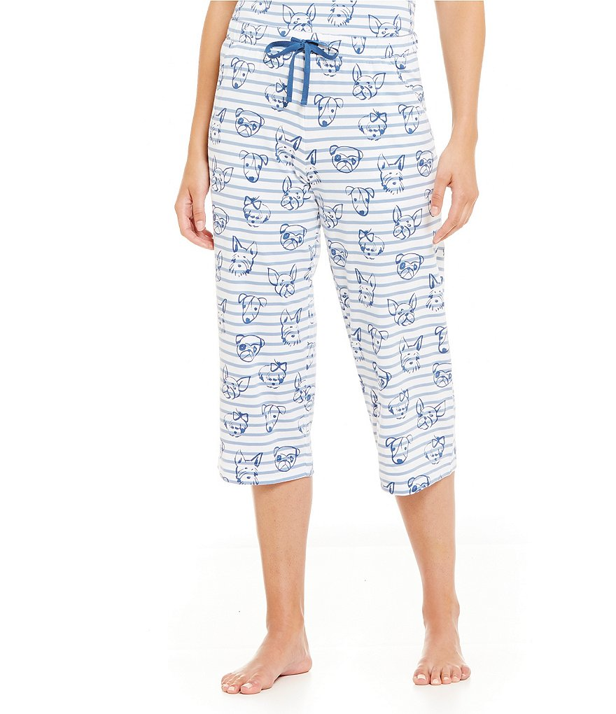 Sleep Sense Dogs & Stripes Jersey Capri Sleep Pants