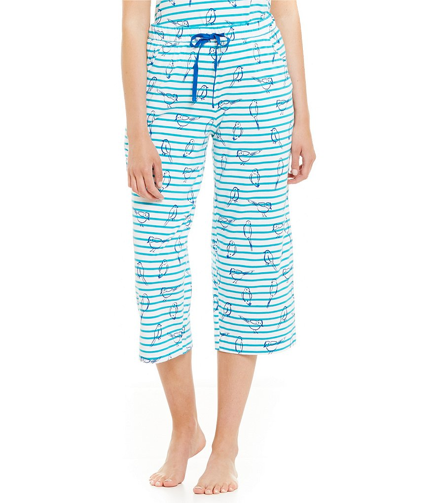 Sleep Sense Birds & Stripes Jersey Capri Sleep Pants