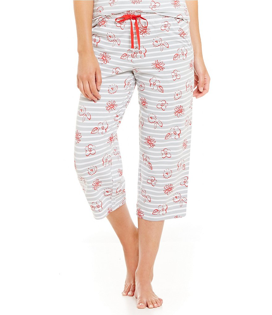 Sleep Sense Flowers & Stripes Jersey Capri Sleep Pants