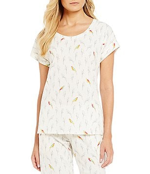 Jasmine & Ginger Parrot Print Stretch Jersey Sleep Top