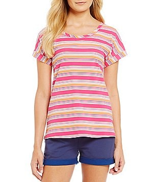 Jasmine & Ginger Stripe-Printed Stretch Jersey Sleep Top