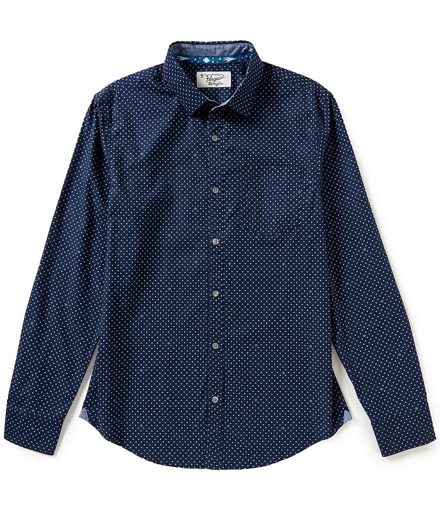 Original Penguin Long-Sleeve Saturn Dot Repeating Print Woven Shirt