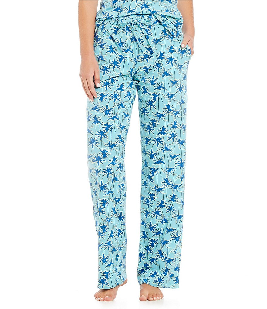 Jasmine & Ginger Palm-Print Jersey Sleep Pants