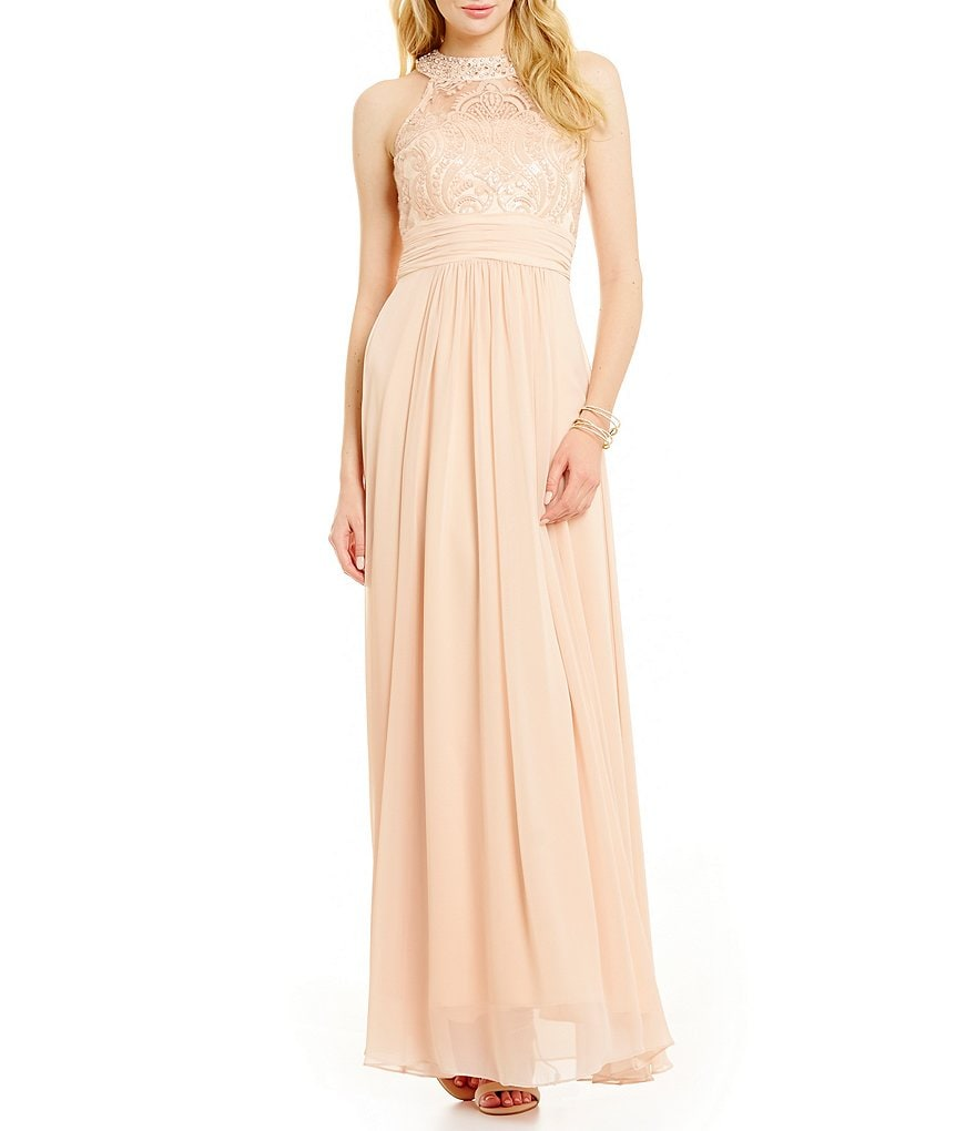 Vince Camuto Halter Beaded Gown