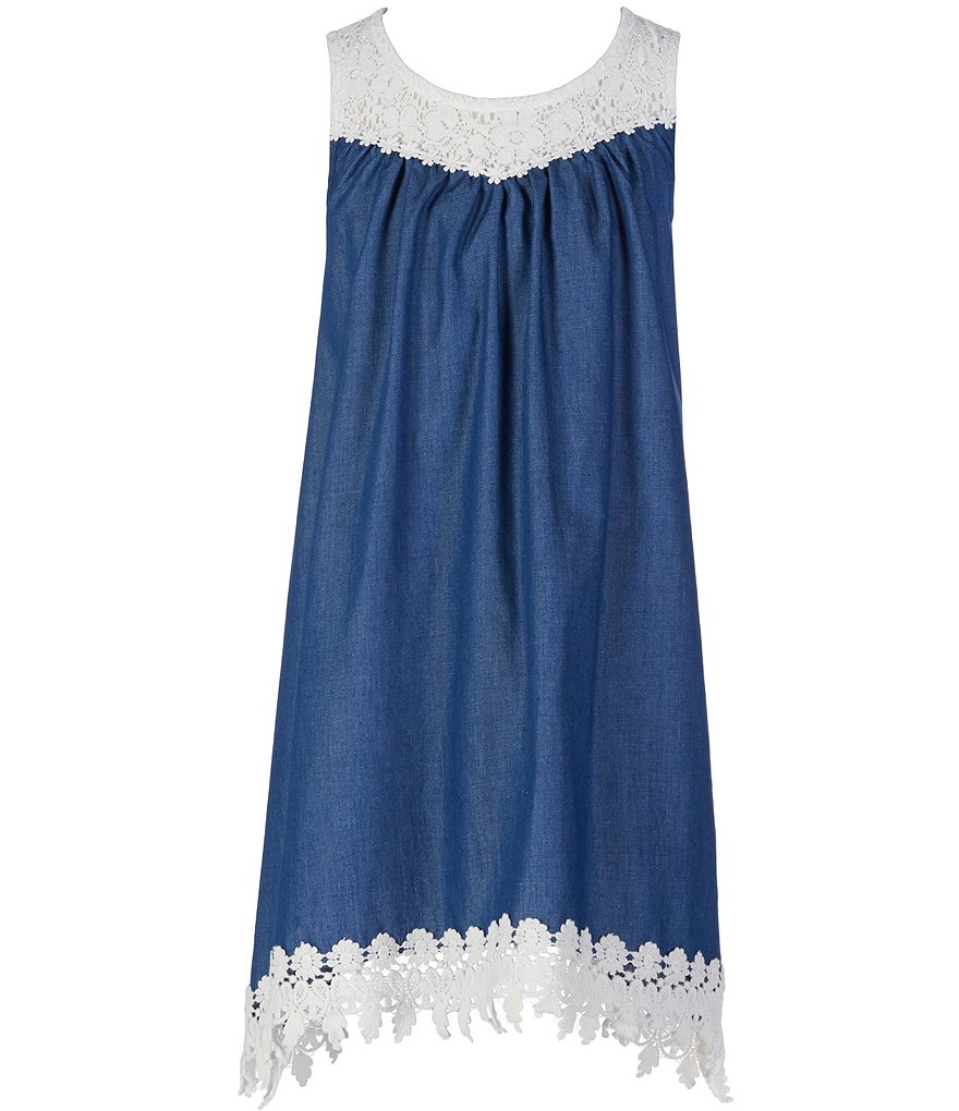 Zunie Big Girls 7-16 Denim Lace Hem Dress