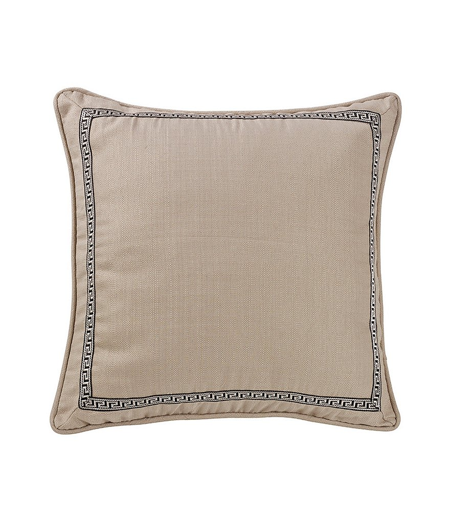 HiEnd Accents Augusta Greek Key-Bordered Faux-Linen Euro Sham