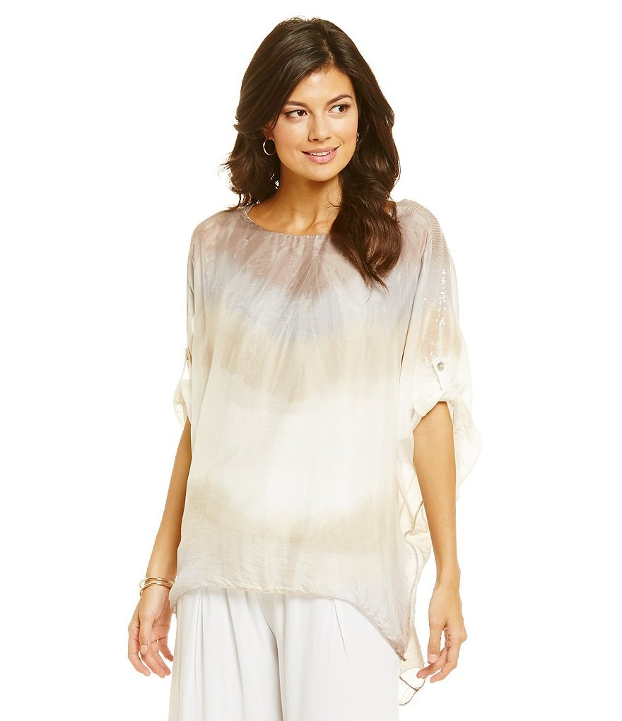 M Made In Italy Dip-Dye Sequin Shoulder Poncho