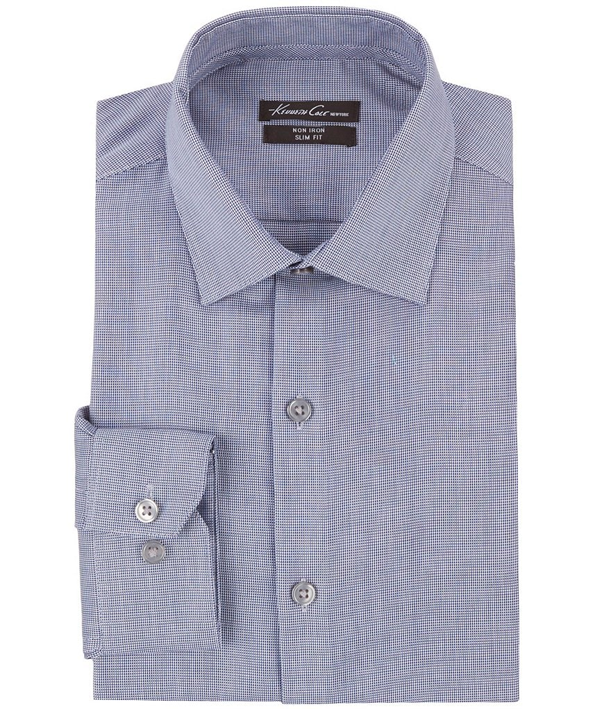 Kenneth Cole New York Non-Iron Slim-Fit Spread-Collar Dobby Pattern Dress Shirt