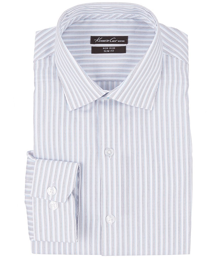 Kenneth Cole New York Non-Iron Slim-Fit Cutaway-Collar Striped Dress Shirt