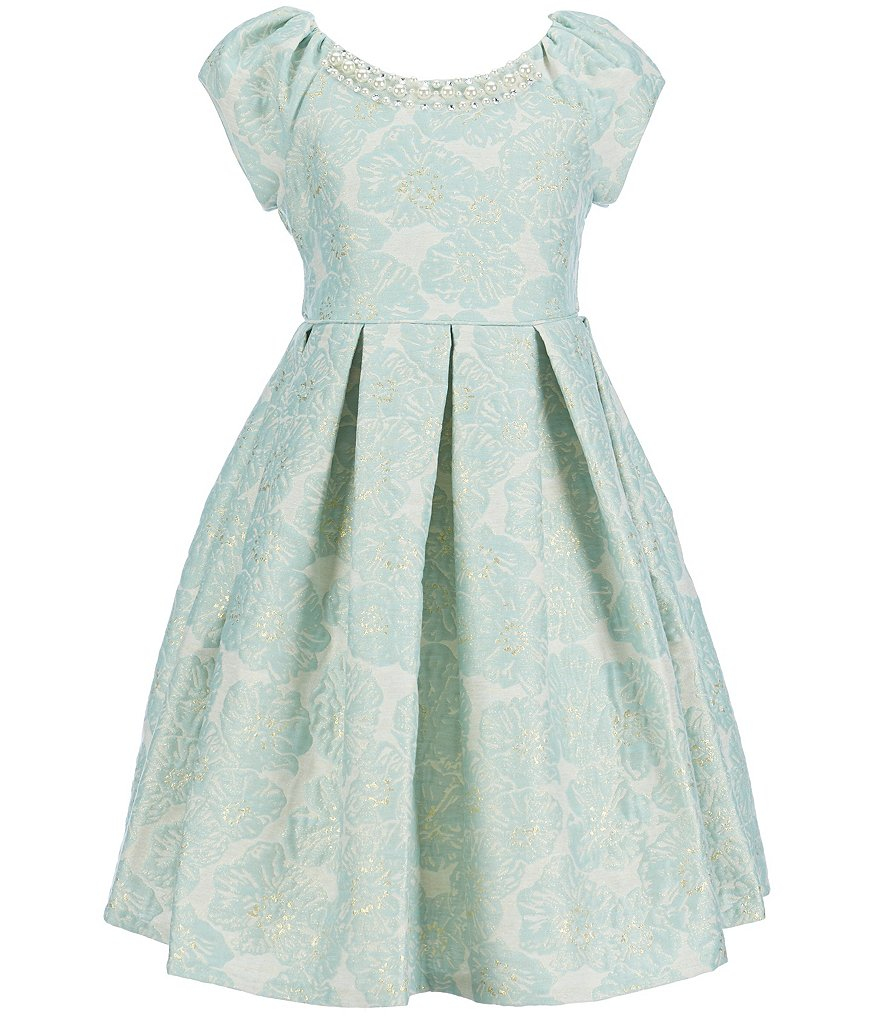 Bonnie Jean Big Girls 7-16 Cap-Sleeve Patterned-Jacquard Dress