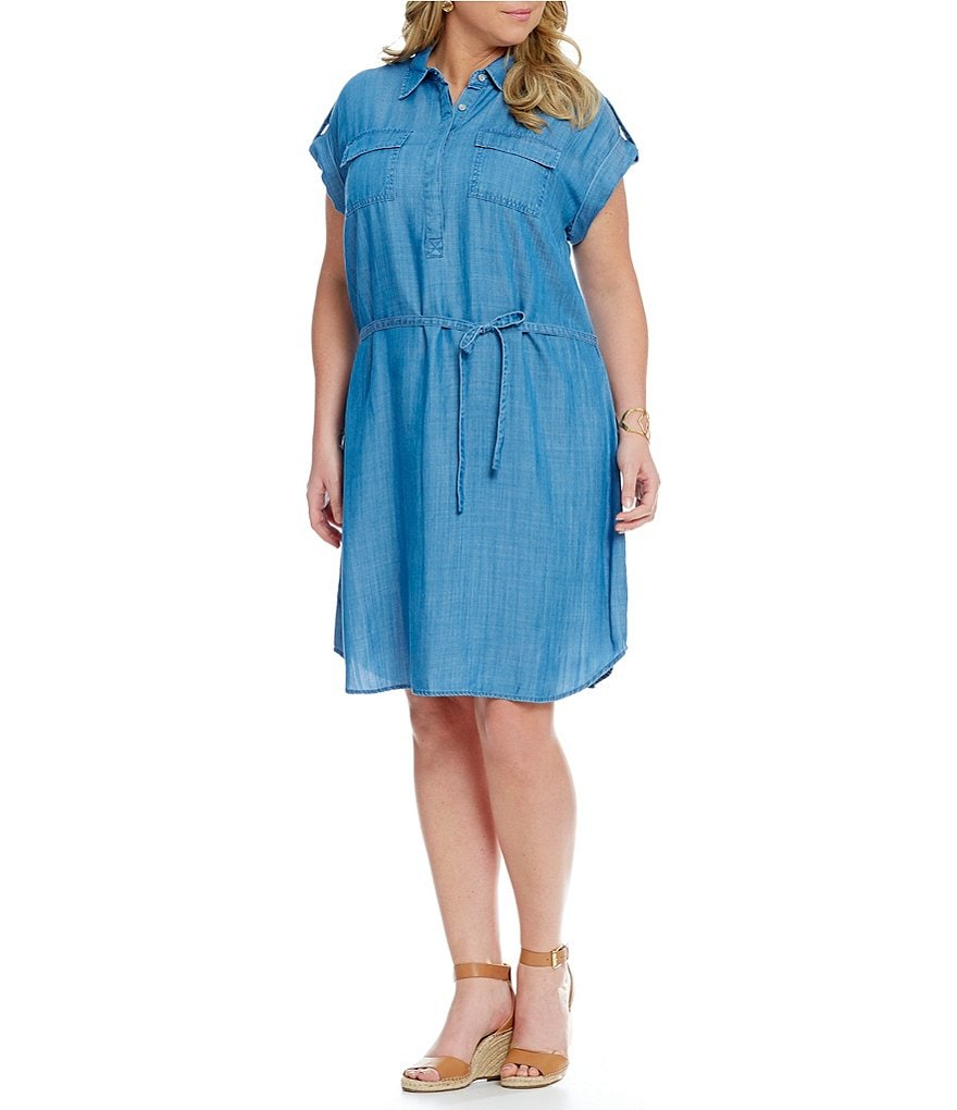 Vince Camuto Plus Elbow Sleeve 2-Pocket Utility Shirt Dress