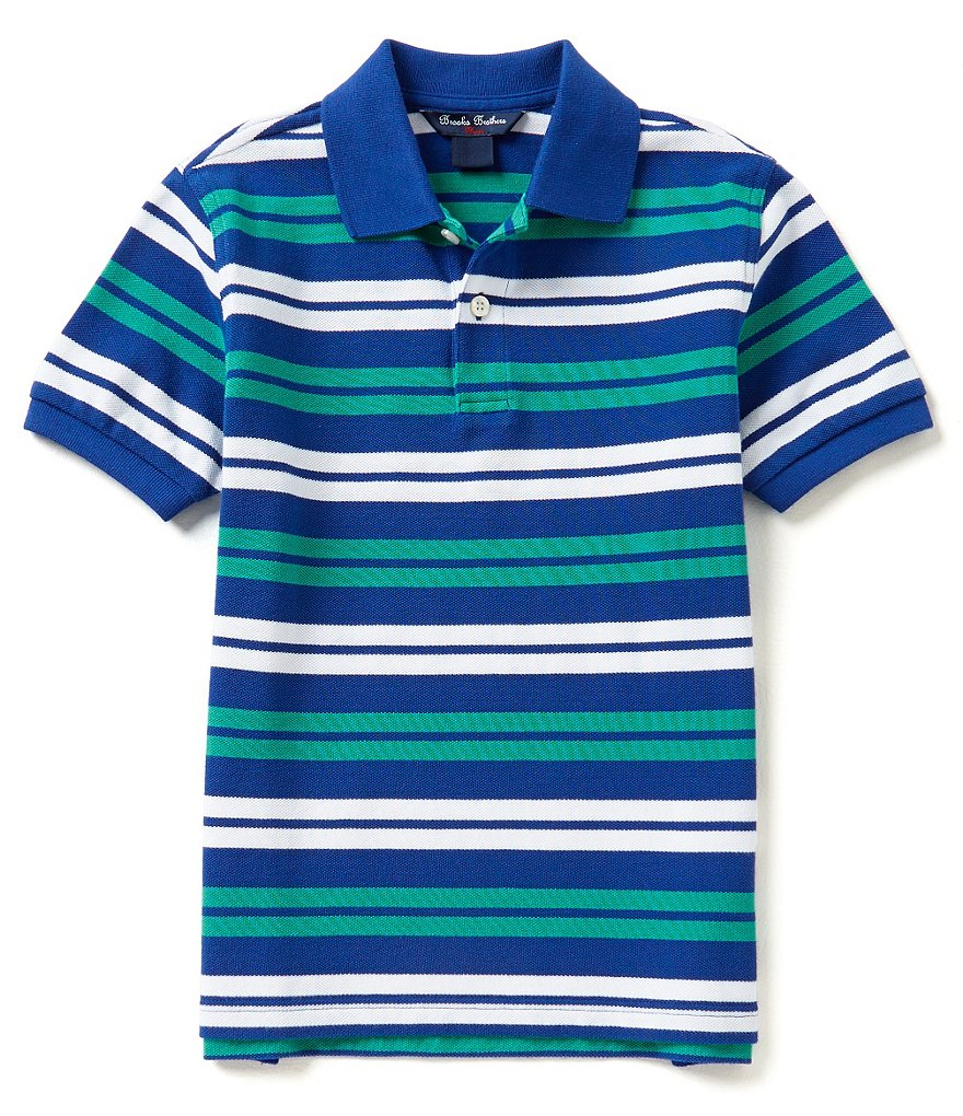 Brooks Brothers 4-20 Double Striped Pique Polo Shirt