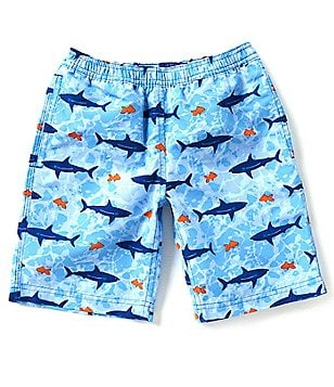 Brooks Brothers 4-20 Shark-Print Swim Trunks